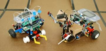 Robots face off in a head-to-head, double-elimination tournament