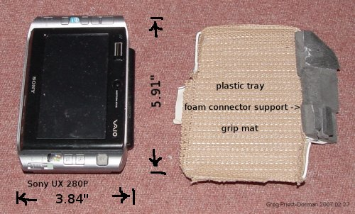 Sony UX280P computer and shaped plastic tray with grip mat and foam supports