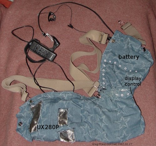 all components arranged in the denim bag, bag closed