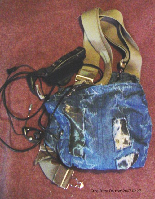 components in denim bag, bag folded